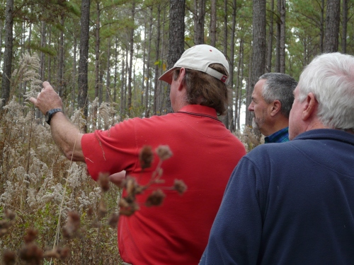 Dr. Dickens shows how to use the glass wedge prism to determine if trees are 'in' or 'out' of variable radius thinning